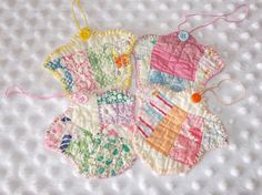 Cute set of 4 vintage quilt tulip gift tags by CulpsCozyQuiltCoop