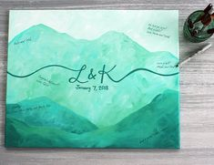 Mountain Wedding Guest Book Alternative / Guest Book Canvas / Personalized Painting / Unique Guest Book Idea / Green Mountain Painting  #mountainwedding #guestbook