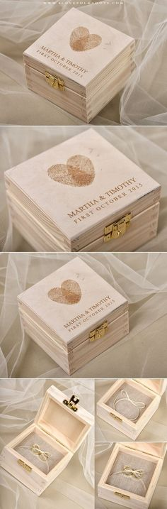 Wedding Wooden Ring Bearer Box with Fingerprints #realwood #weddingideas #summerwedding