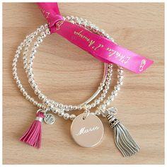 Trio de bracelets perles, médaille et pompons - L'Atelier d'Amaya