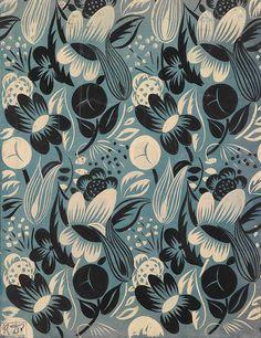 Raoul Dufy (1877-1953) - Floraison, conception de tissu pour  Bianchini Ferier à Lyon  Gouache sur papier.