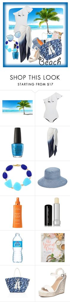 """Beach Day"" by ciukinaa ❤ liked on Polyvore featuring CKK Home Decor, Lisa Marie Fernandez, OPI, Phase Eight, Vera Bradley, Institut Esthederm, Marc Jacobs, Macmillan, Melissa Odabash and Dorothy Perkins"
