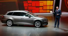 Seat CEO Juergen Stackmann shows the new Seat Leon ST during a preview of the Volkswagen Group