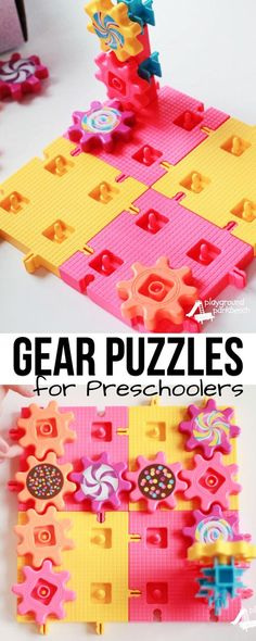 Challenge your preschoolers spatial reasoning and problem solving skills with this STEM Challenge.  Use a set of gear toys to create a gears game or puzzles to engage their preschool engineering skills. | STEM | STEAM | Preschool Engineering |