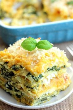 Butternut Squash and Spinach Lasagna   Totally vegan, protein packed lasagna. Tastes great with pumpkin instead of butternut squash, too!