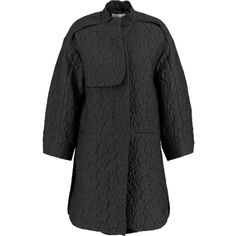 Issa Cherry jacquard coat featuring polyvore, fashion, clothing, outerwear, coats, black, oversized coat, jacquard coat, issa, petite coats and black coat