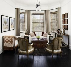 i really like this window treatment style for the bay window.