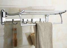 bath towel rail 2211 Swivel Towel Shelf with Robe Hooks 2211 another promising solution.