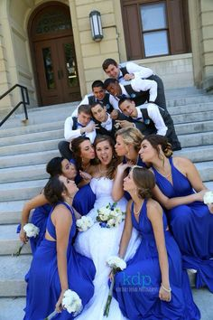 Cobalt blue and grey wedding! Lets just add a little color in there shall we...?