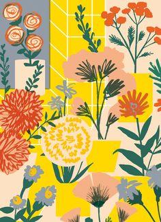 Hey hey illustrations via elena boils hey hey this way живоп Art Watercolor, Floral Prints, Art Prints, Mellow Yellow, Botanical Art, Pattern Art, Red Pattern, Graphic, Wallpaper Backgrounds