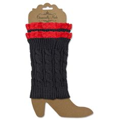 Crochet and Lace Boot Cuff-Black/Red - Occasionally Made - Classic Gifts with a Trendy Twist!