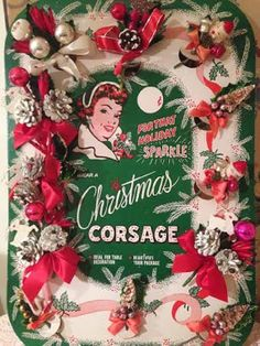 Never-Used Retro Store Display of Christmas Corsages Made With Bottle Brush Trees, Mercury Glass Beads, Reindeer, Pinecones, Ornaments, Bells, Santas, Etc., 1940s