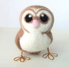 Needlefelted Owl Barn Owl in soft Browns With by feltmeupdesigns, £20.00