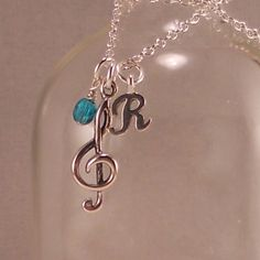 Music Necklace, Sterling Silver, Treble Clef charm, Recital Gift, personalized, initial, birthstone, music, musician, piano. choir, teacher. $36.00, via Etsy.