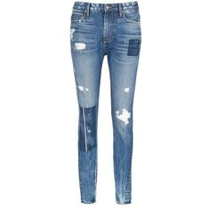 Tortoise Patchwork straight leg selvedge jeans ($125) ❤ liked on Polyvore featuring jeans, pants, blue, blue jeans, destructed jeans, ripped jeans, patchwork jeans and torn jeans