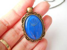 Dandelion pendant blue resin jewelry antique brass by LightPurple Antique Brass, Antique Jewelry, Oval Pendant, Organza Bags, Resin Jewelry, Bracelet Watch, Dandelion, Chain, Antiques