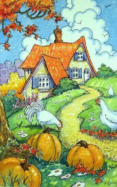 House illustration art storybook cottage 18 ideas for 2019 Cute Cottage, Cottage Art, Storybook Cottage, Am Meer, Naive Art, Children's Book Illustration, Autumn Illustration, Whimsical Art, Watercolor Paintings