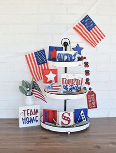 Fourth of July Tiered Tray Decor Patriotic Decor Tiered Tray Signs Mini Wood Signs Mini Signs Pat Fourth Of July Decor, 4th Of July Party, 4th Of July Wreath, July 4th, Thing 1, Patriotic Decorations, Holiday Decorations, July Crafts, Tray Decor