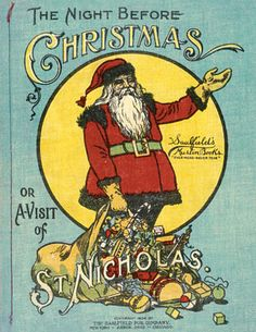 The Night Before Christmas, published by McLoughlin Brothers. Childrens Christmas Books, Childrens Books, The Night Before Christmas, Christmas And New Year, Christmas Paper, Vintage Christmas, Antique Christmas Decorations, Antique Toys, Nursery Rhymes