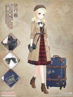 Journey or everyday outfit Anime Kimono, Anime Dress, Anime Outfits, Girl Outfits, Cute Outfits, Star Fashion, Fashion Art, Fashion Design, Vestidos Anime