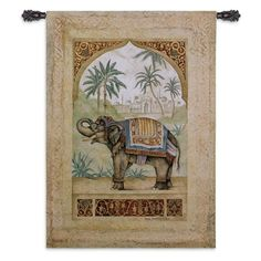 Fine Art Tapestries Old World Elephant II Trunk Up Wall Tapestry - 1763-WH