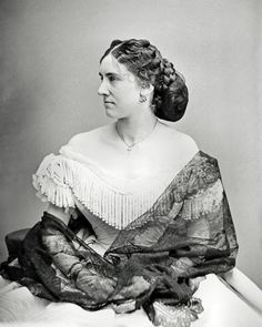 This photograph shows Lucy Dean dressed in a gorgeous fringed gown with a black lace shawl draped across her shoulders, as photographed in Mathew Brady's Washington DC studio. Victorian Gown, Victorian Fashion, Vintage Fashion, Women's Fashion, Victorian Ladies, Fashion Styles, Edwardian Era, Vintage Beauty, Ladies Fashion