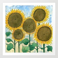 Sunflowers Art Print by Holly Fisher@SpenceCreative | Society6