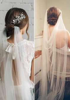 Top 20 Wedding Hairstyles with Veils and Accessories DRAPED TULLE VEIL with hair accessory hairstyle wedding vintage draped wedding veil