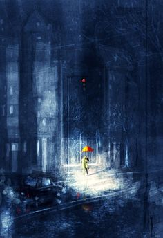 """It's all there!#pascalcampionart -Look… it's all here! -What? -The rain, the dramatic light, the paved street, even a little cat in the corner there. _Funny._It's only missing one thing to make it perfect. _Ohhhhhhh Reallllllly? and what might that be I wonder? _Come here """"baby"""" _Ho, you manly man…_HEY KIDS…ARE YOU GONNA CROSS THAT STREET OR WHAT? _……we even have the crabby driver.. -shhhhhhhh…Kiss me"""