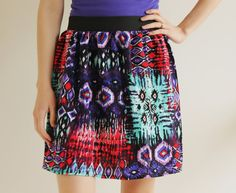 Tribal Print Women's Skirt with Elastic Waist  by ThreadsbyEmily
