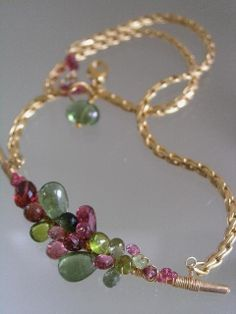 City Girl Goes Romantic...Pink Tourmaline Green Apatite Signature Original Gold Filled Curved Bar Necklace. $248.00, via Etsy.