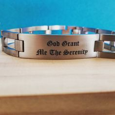 Looking to add some encouragement to your ensemble? For anyone walking the sober path, our engravable bracelets make a great daily reminder for strength. Mens Engraved Bracelets, Personalized Bracelets, Engraved Jewelry, Engraved Necklace, Cuff Bracelets, Serenity Prayer Bracelet, Meaningful Jewelry, Custom Engraving, Bracelet Making