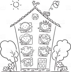 Find big family drawing stock images in HD and millions of other royalty-free stock photos, illustrations and vectors in the Shutterstock collection. Family Coloring Pages, Free Coloring Pages, Coloring Sheets, Coloring Books, Art Drawings For Kids, Drawing For Kids, Easy Drawings, Family Theme, Big Family