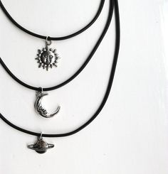 Handmade Black Cord Silver Charm Choker by FactoryofThread on Etsy, £4.80
