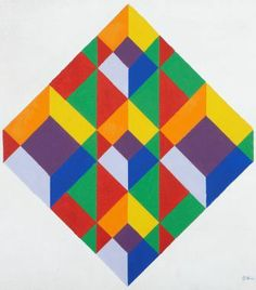 Moving Rainbow Boxes. Hard edge painting by Ron Scott.....this painting would make an incredible and fantastic quilt block!