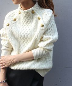 Thick Button Raglan Sleeve Standard Stand Collar Sweater – we-love-mei Knit Fashion, Sweater Fashion, Womens Fashion, Pullover Mode, Sweater Weather, Pulls, Types Of Sleeves, Knit Crochet, Knit Cowl