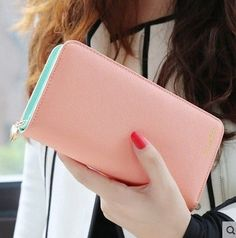 hot sale fashion high capacity women wallets contrast color zipper clutch women's long design wallet purse shipping