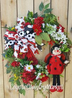 Summer Front Door Grapevine Wreath-Ladybug Door Wreath-Daisy Summer Wreath-Summer Grapevine Wreath-Outdoor Wreath-Grapevine Floral Wreath by CoyoteCountryMarket on Etsy