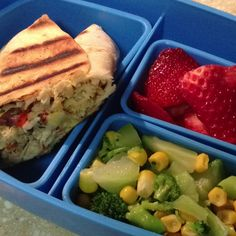 1/2 Southwest Chicken Wrap - broccoli and corn - sliced strawberries