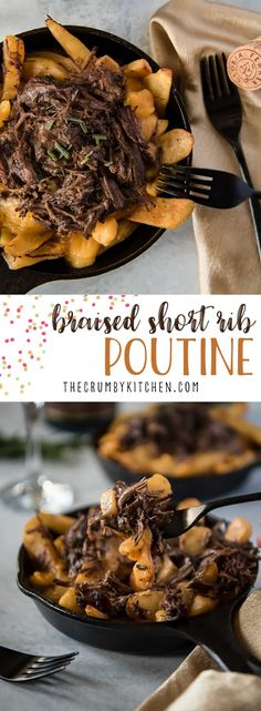 This beyond delicious Braised Short Rib Poutine is a meaty riff on a Québécois standard that's ready in an hour! Steak-cut French fries are piled with shredded (Instant Pot) beef short ribs & gravy, then topped with melted cheddar cheese curds. Braised Short Ribs, Beef Short Ribs, Braised Beef, Supper Recipes, Appetizer Recipes, Party Appetizers, Party Snacks, Cheese Curds, Cheddar Cheese