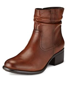 Leather Ruched Ankle Boots | M&S