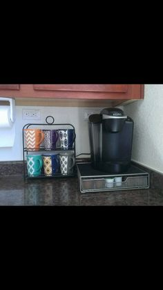 Love the idea of displaying mugs on counter