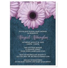 Floral country girl Baby Shower invitations, perfect for Spring or Summer, designed with purple daisy flowers over a blue denim fabric pattern background.
