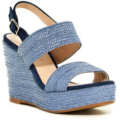 Andre Assous Gift Platform Wedge Sandal ($120) ❤ liked on Polyvore featuring shoes, sandals, open toe platform sandals, sling back sandals, braided sandals, woven sandals and open toe sandals