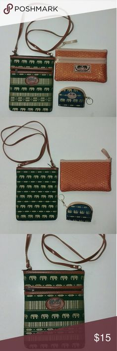 """Bundle Set from Thailand Purse, Clutch, Coin Lovely preowned handmade from Thailand purses, clutch and coin purse set in good condition.  Approx:  Green purse H 7 1/2"""" x L 6"""". Strap drop 22"""".  Orange clutch 4 1/2"""" x 7 1/2""""  Blue coin purse 2 1/2"""" x 3 1/2""""  Preowned. These are lightweight. Material may be of silk and PVC leather. Lovely colors from the motherland country. Thanks for looking. Bags Shoulder Bags"""
