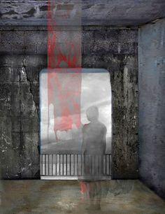 "Mania Efstathiou, ""Forbidden View"", digital collage printed on plexiglas Digital Collage, Solitude, Plexus Products, Printed, Artwork, Painting, Work Of Art, Auguste Rodin Artwork, Painting Art"