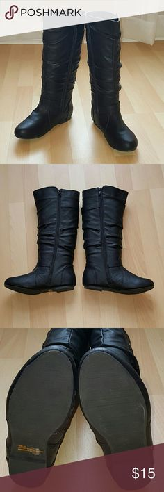 Black Mid Calf Boots Top Moda Faux Leather Mid Calf Boots.  Worn only a couple times.  Great condition!! Top Moda Shoes Combat & Moto Boots
