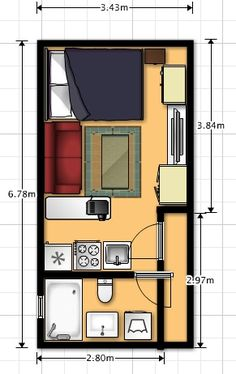 25 ideas for apartment layout floor plans tiny Studio Apartment Floor Plans, Studio Apartment Layout, Studio Layout, Apartment Plans, Apartment Design, Small Apartment Layout, Studio Apartment Kitchen, Container House Plans, Container House Design