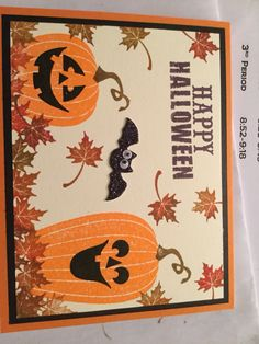 Used pumpkin pie stampin up paper, carved and lighted retired SU stamp set, leaf from retired Autumn Days SU set, bat from Michael's