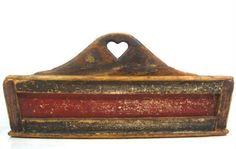 Antique 19thC HEART CUTLERY TRAY AAFA Folk Art Primitive Knife Box #NaivePrimitive